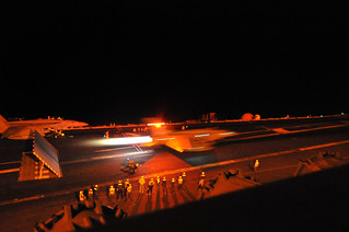 Super Hornet launches from USS George Washington during night flight operations | by Official U.S. Navy Imagery