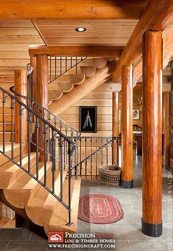 Log Home Custom Staircase Precisioncraft Log Homes Flickr