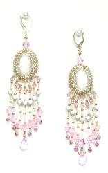 Blush Pink chandelier earrings, cat's eye cabochon | by MEDUSA JEWELLERY