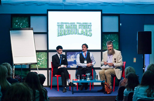 Dan Boultwood, Tony Lee and Philip Ardagh | by Edinburgh International Book Festival