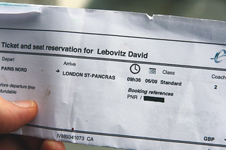 Eurostar ticket | by David Lebovitz