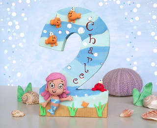 Bubble Guppies (Molly) birthday cake topper - Wood number 2 | by PassionArte