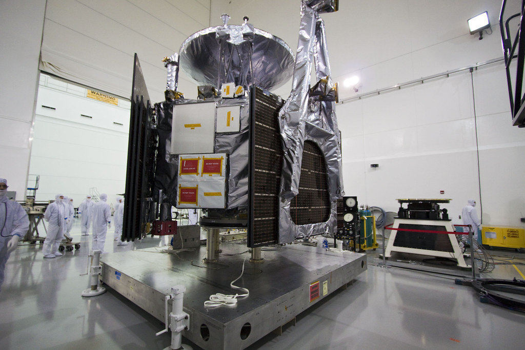 Juno spacecraft is secured to a fueling stand where the spacecraft will be loaded with the propellant necessary for orbit maneuvers and the attitude control system