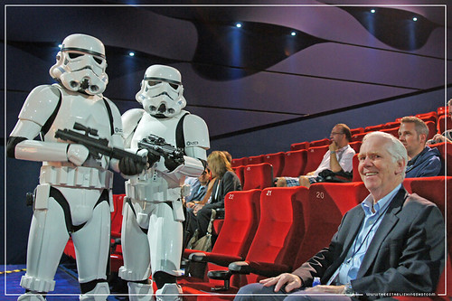 Empire BIG SCREEN : The 501st UK Garrison Imperial Stormtroopers harassing the original Boba Fett Mr. Jeremy Bulloch before the ILM Star Wars: Industrial Light and Magic presentation