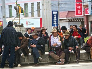 110822 local Litang men hanging out at the city center | by Planet Granite