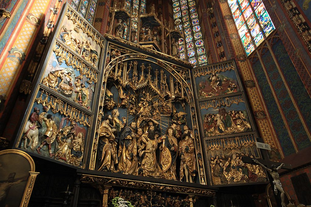 Retable en bois de Wit Stwosz dans la basilique Sainte Marie de Cracovie - Photo de Mariusz Cieszewski