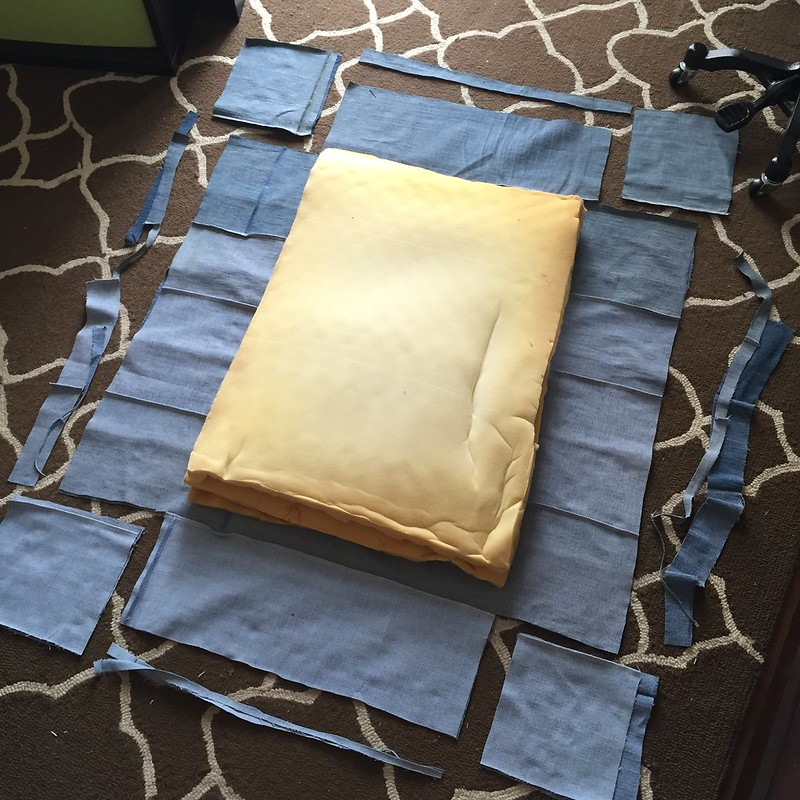 Denim Dog Bed - In Progress