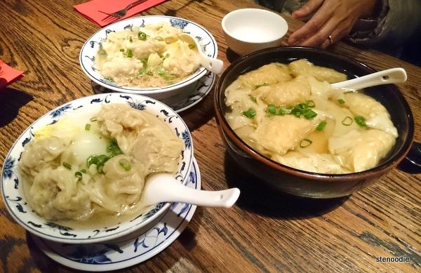 """wontons, """"sui kau"""" dumplings, wonton noodle soups"""