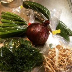 sending hugs to kumamoto❤︎bought some produce from there: okra, cucumber, red onion, parsley & dried daikon  #prayforkumamoto #japan