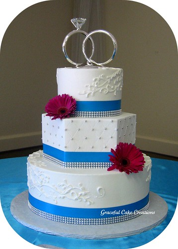 blue color wedding cakes white silver and malibu blue wedding cake flickr 11982