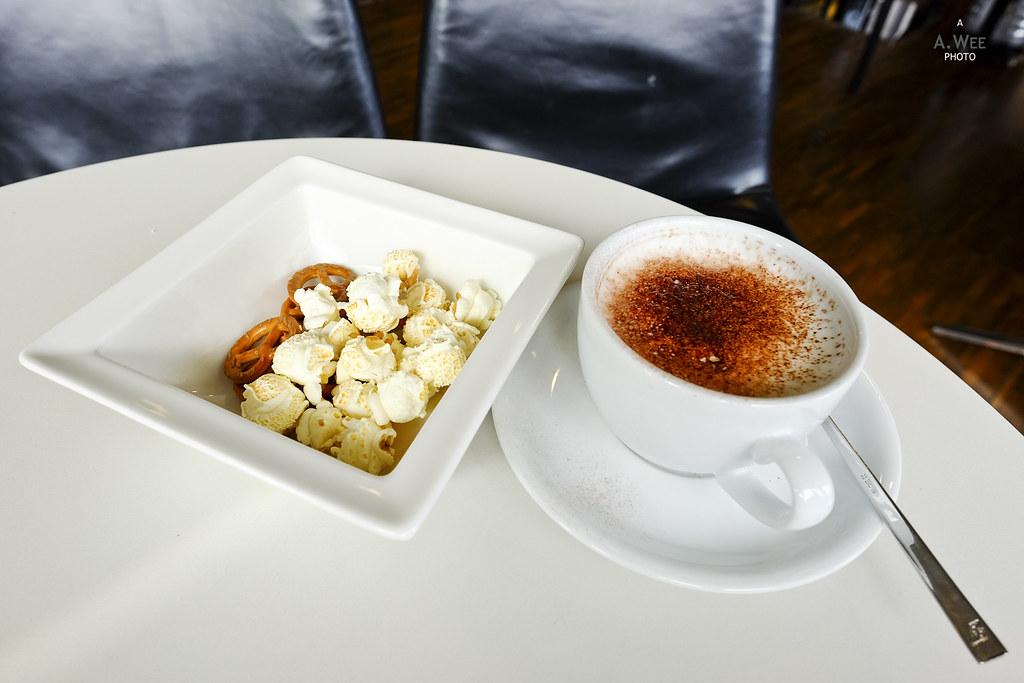 Cappuccino and popcorn