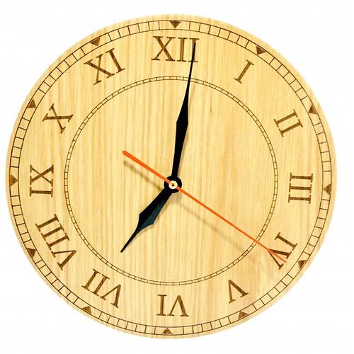 Đồng hồ gỗ hình tròn - hoa văn số 1