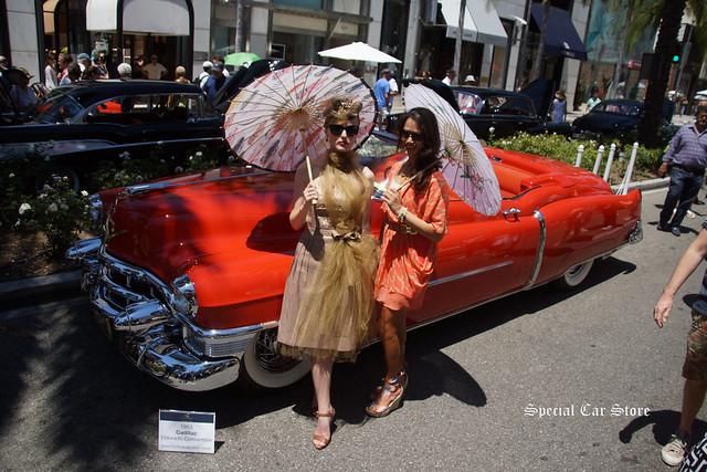 Models in front of 1953 Cadillac Eldorado Convertible