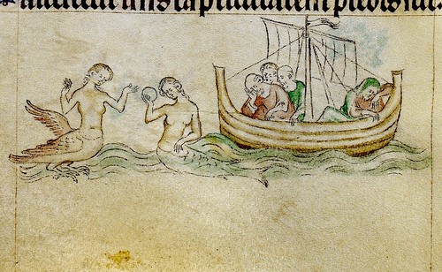 Sirens, one winged with clawed feet and one with mirror, near ship. detail bas-de-page. 1310-20. England.          BL. | by tony harrison