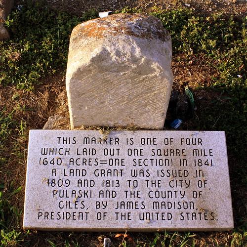 Pulaski's Square Mile Marker