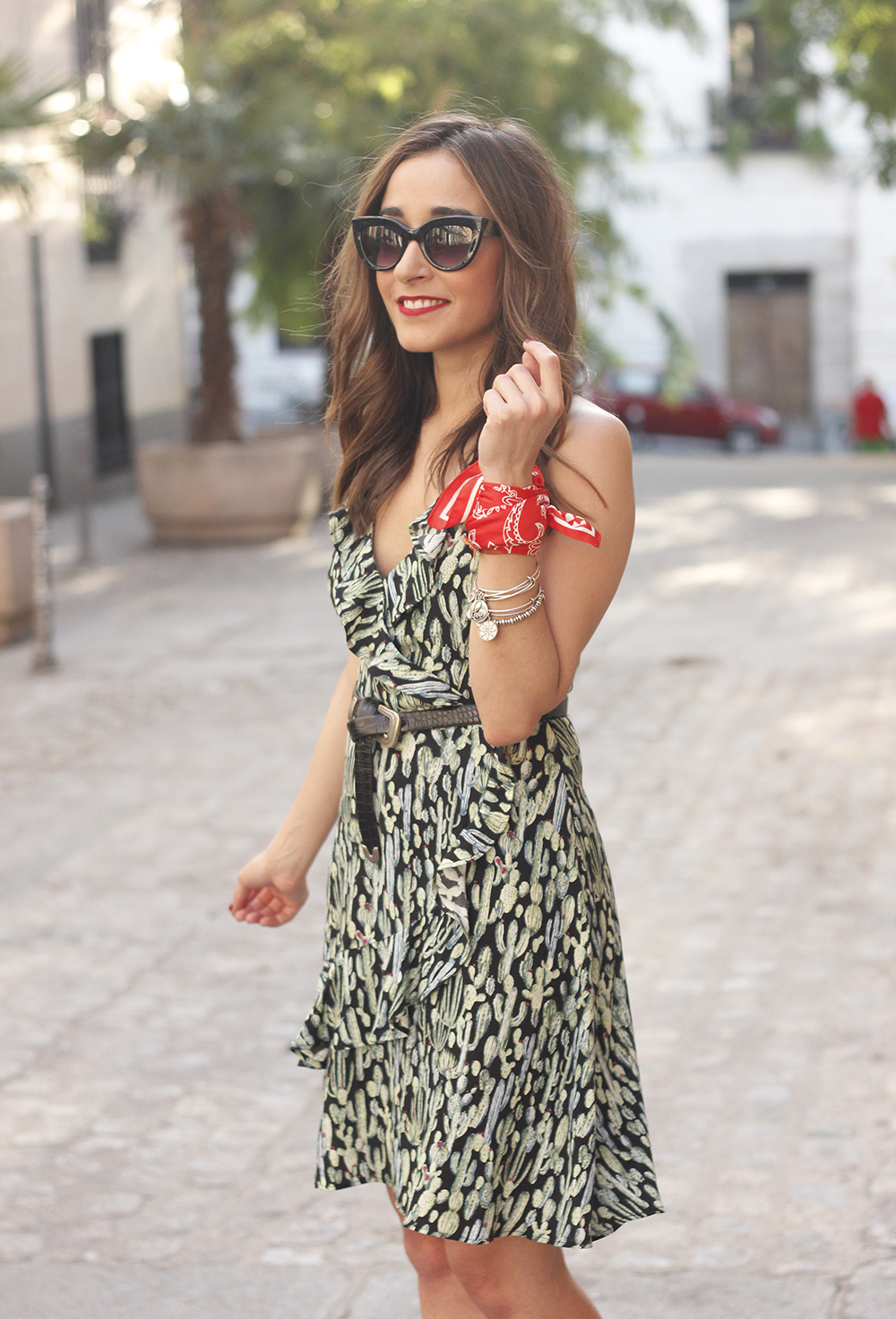 summer dress with cactus prints black sandals sunnies outfit style 19