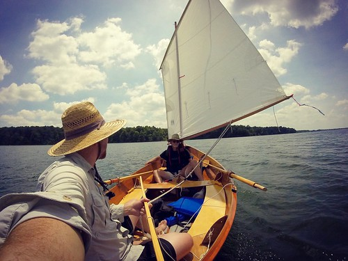 "Sailing a friend's Chesapeake Light Craft ""Skerry"" open sailboat"
