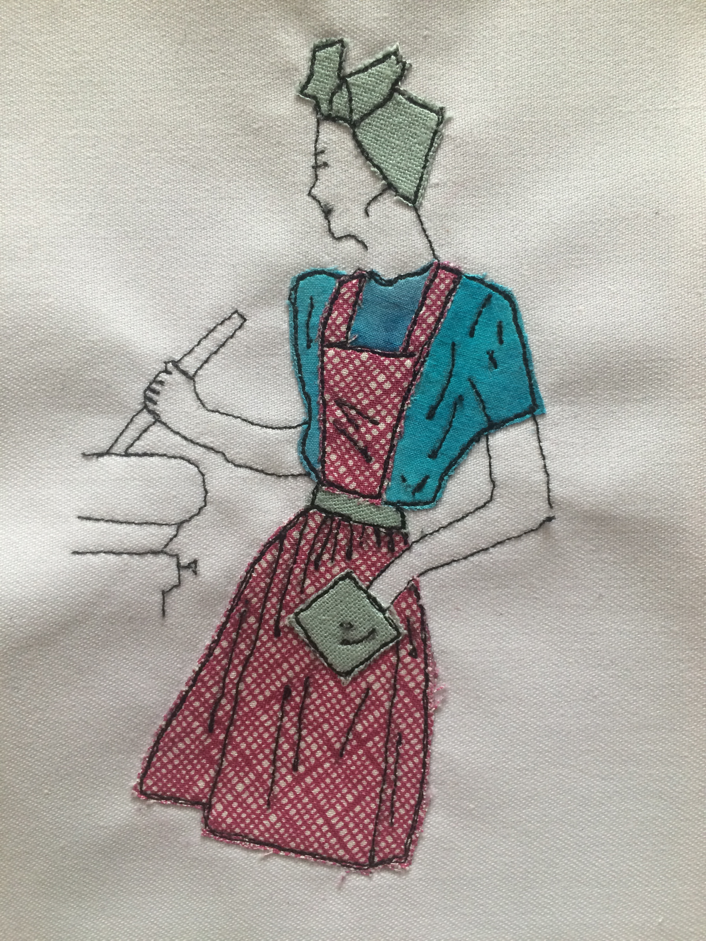 Free motion embroidery - 40s house wife