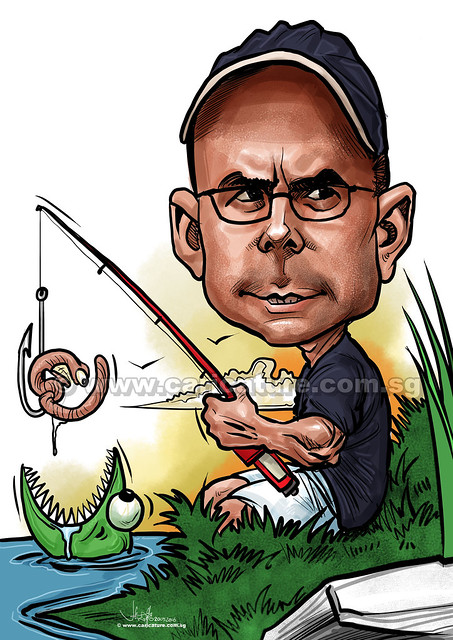 fishing digital caricature (watermarked)