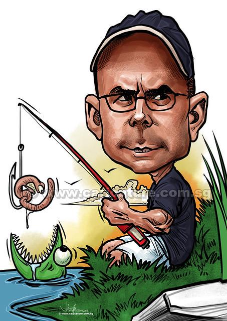 fishing digital caricature (watermarked)