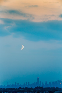 The Moon and NYC at Twilight | by Braulio F. Cosme