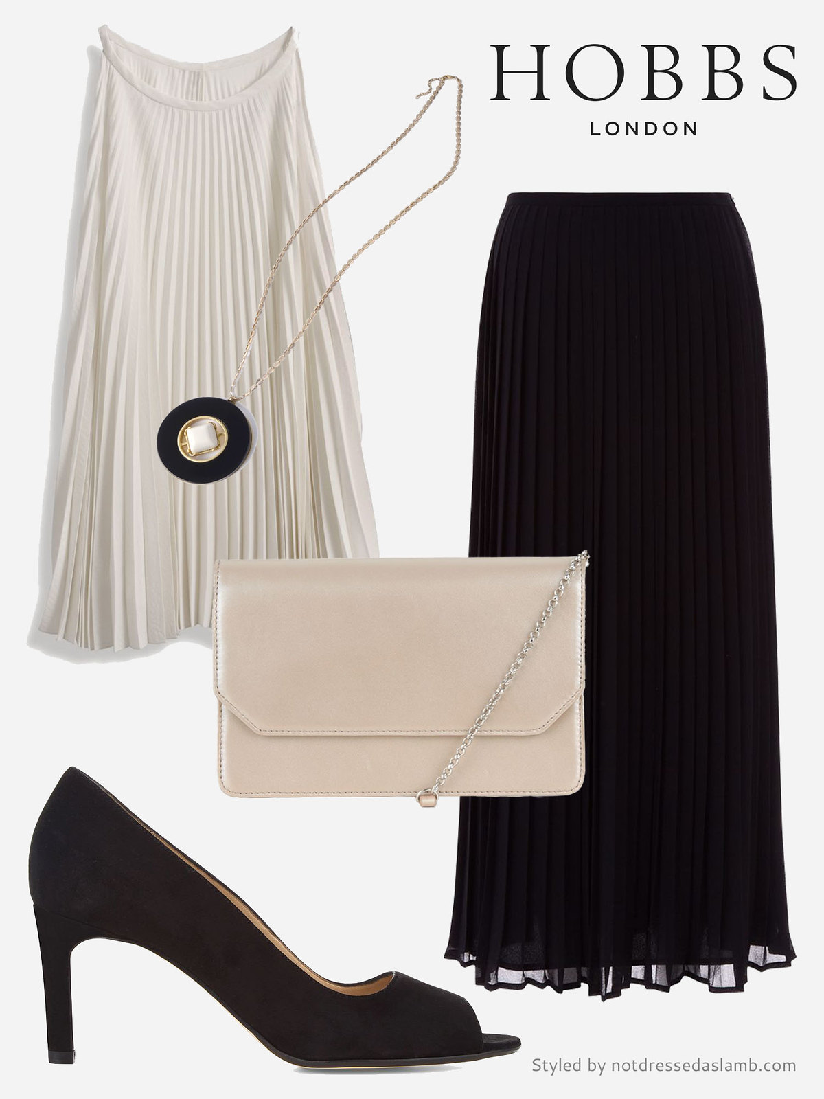 Black and white elegant evening look with pleats | Hobbs SS16 styled by Not Dressed As Lamb