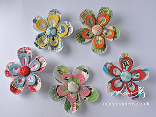 Selvedge brooches for sample swap | by Mary-and-Tobit