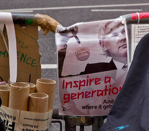 "Julian Assange, ""Inspire a Generation and Look Where it Gets You"" - Embassy of Ecuador, Knightsbridge, London 