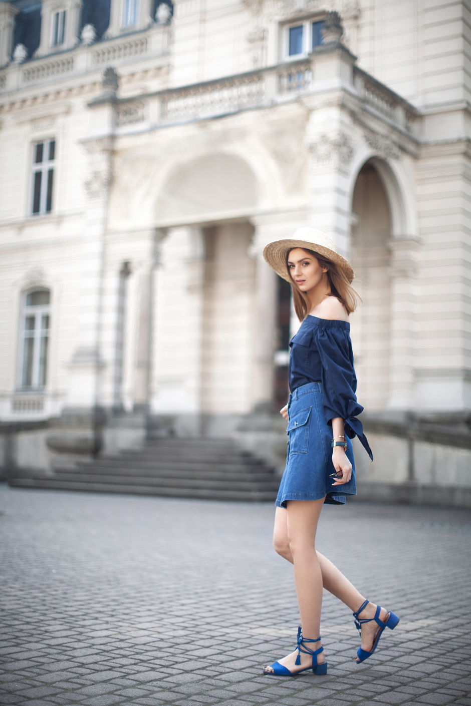 denim-skirt-outfit-off-shoulder-top-lace-up-sandals-street-style