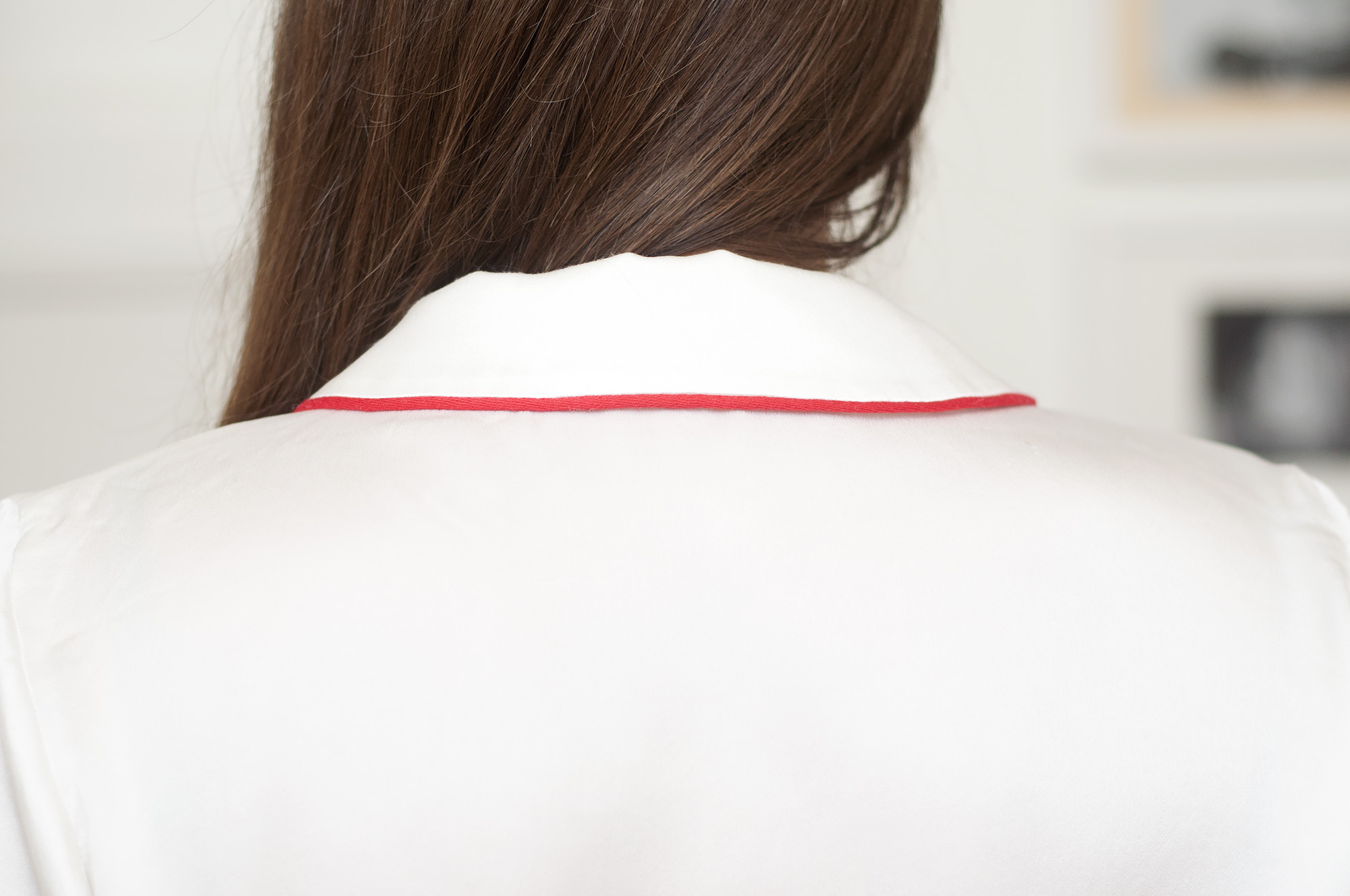 Burdastyle silk blouse with red piping