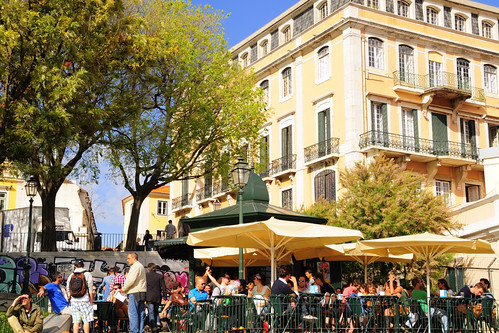 Outdoor café with Palácio Santa Catarina in the background. Lisbon, Portugal. | by ruireb