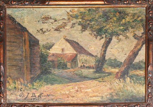 1932 P. J. De Hondt - farmhouse on path oil on canvas on panel | by blacque_jacques