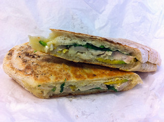 Toasted panini with chicken, Brie, avocado and spinach, City Farm Cafe | by The Food Pornographer