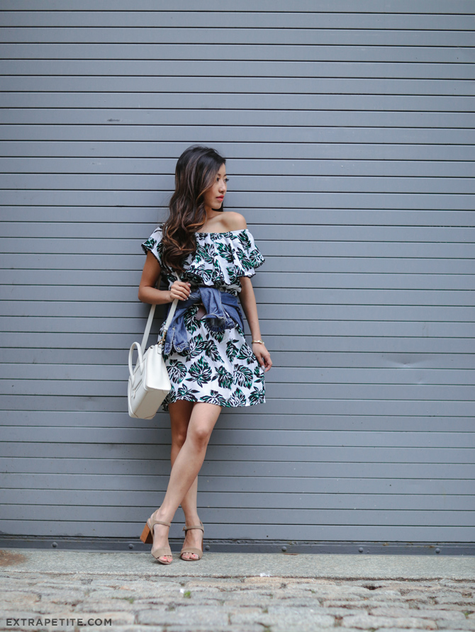 lord taylor palm print off shoulder ruffle dress