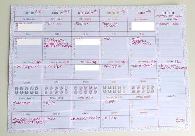 Weekplanner Team Confetti ingevuld