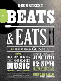 6/11 - Grub Street Beats & Eats at the Hester Street Fair 12 - 5 PM