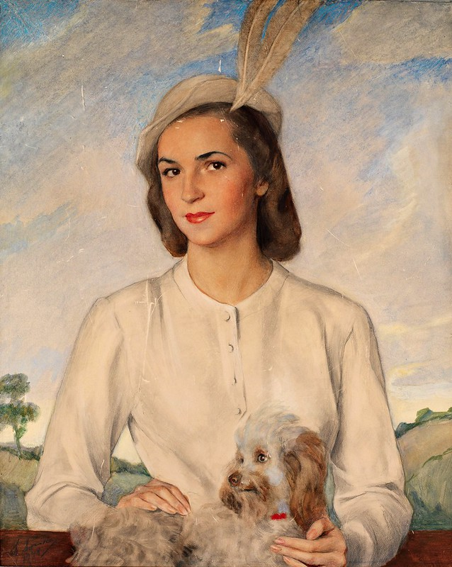 Savely Sorine - Portrait of a Lady with a Terrier (1948)