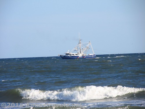 Shrimp boat off the coast of Holden Beach, North Carolina