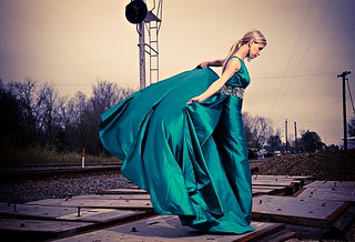 Shaune Bagwell models a custom emerald green Sherri Hill gown, Cartier Earrings, Jimmy Choo platform satin sandals, American Vogue, c. 2012 | by photo-man2