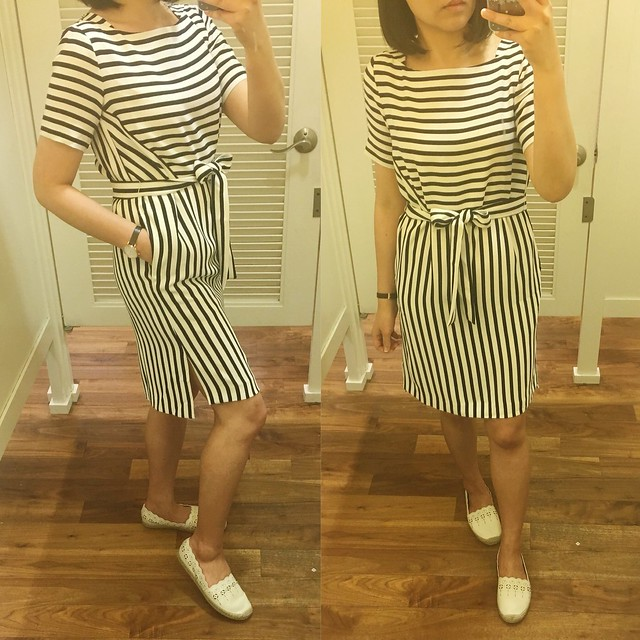 Ann Taylor Stripe Belted Boatneck Dress