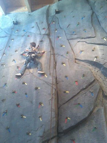 Isaac conquering the climbing wall at Barbara's 60th Birthday Party | by goldberg