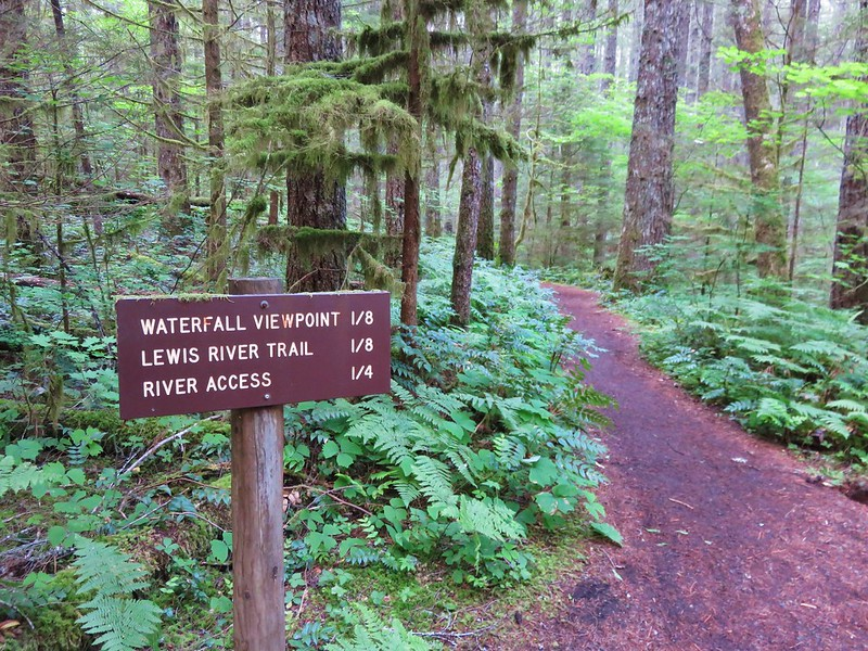 Trail sign at the Lower Falls Recreation Area