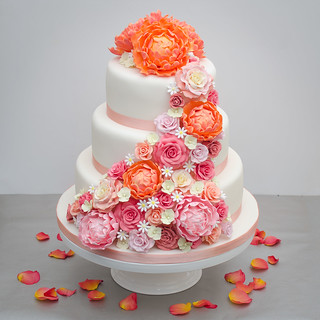 3 tier wedding cake with peony and rose cascade | by Mr:Mac