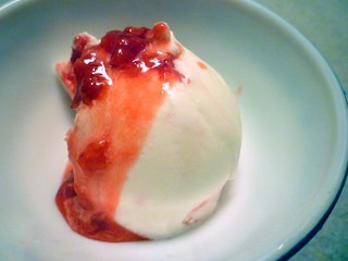 Ice Cream: Lychee with Raspberry sauce | by lili.chin