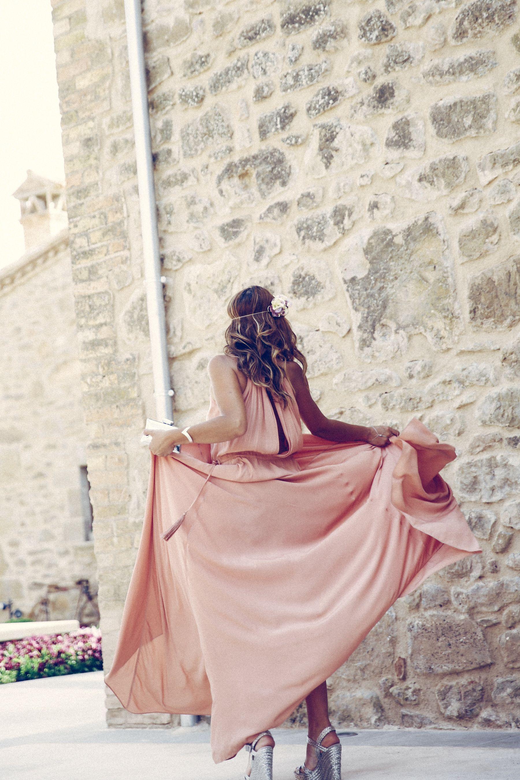 adolfo dominguez dress vestido pura lopez sandalias sandals wedges corona flores flower crown pink silver rosa plata clutch bombonera summer boda wedding guest outfit look primavera spring street style trendy taste _2
