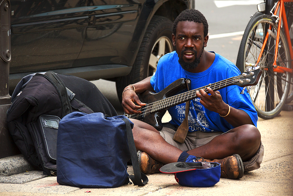 Bassist busking at JFK and 15th on 5-23-16--Center City