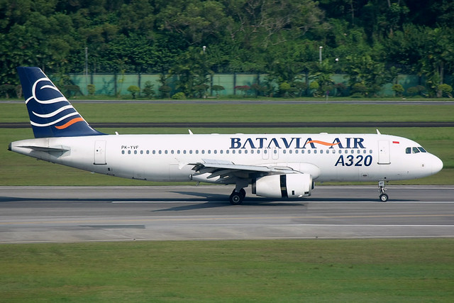 Batavia Air, Airbus A320-200, PK-YVF, Singapore Changi