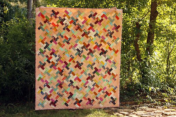Peach Swirl patchwork quilt