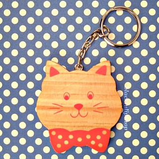 Neat-O Vintage Kitsch Avon Best Friend - Sweet Cat Wooden Kitten With Polka Dot Bow Tie Keyring/Key Ring/Key Chain | by miki the artist