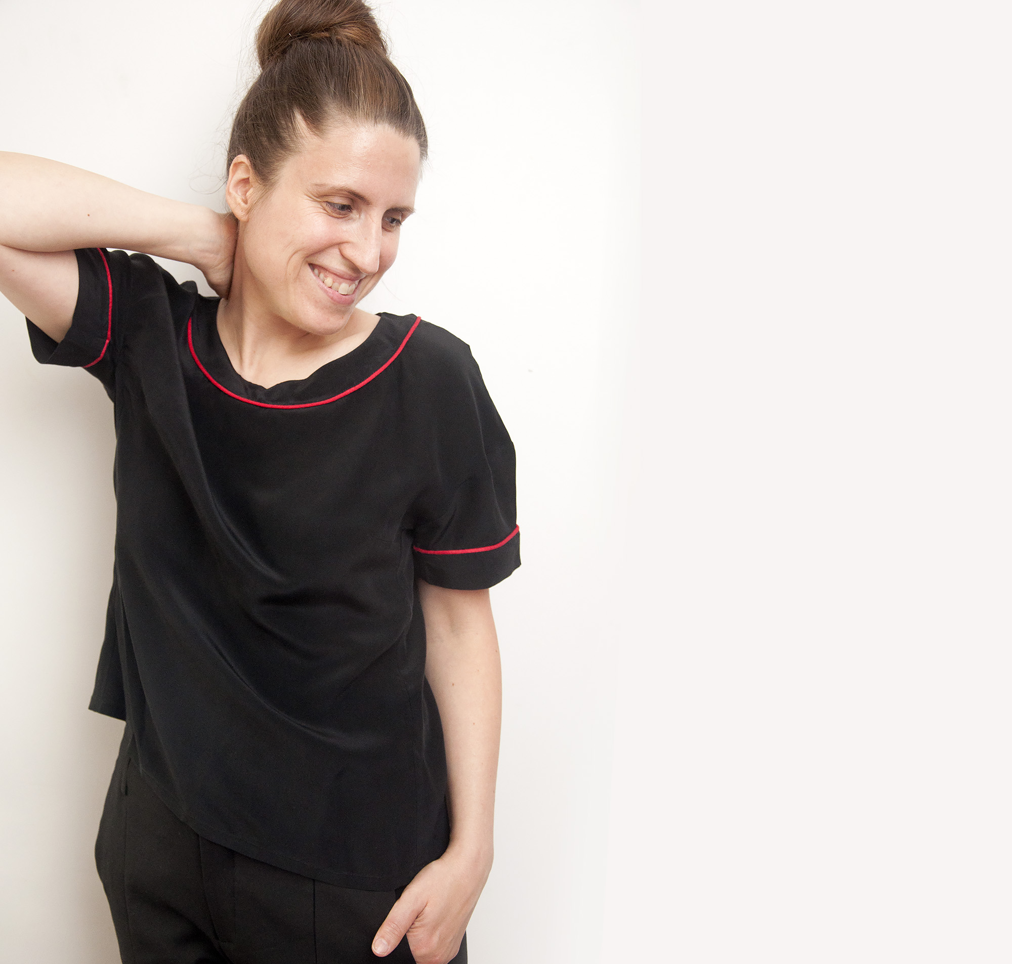 Burdastyle black silk blouse with piping